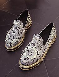 Damen-Loafers & Slip-Ons-Lässig-Baumwolle-Flacher Absatz-Komfort-Rot / Grau
