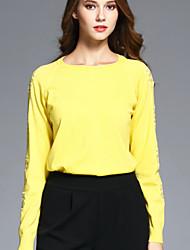 BOMOVO® Femme Col Arrondi Manche Longues T-shirt Jaune-B16QAX1