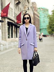 Women's Casual/Daily Simple Coat,Solid Long Sleeve Winter Purple Cotton Medium