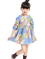 Girl's Going out Floral DressCotton Spring / Fall Blue / Red