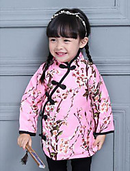Girl's Casual/Daily Floral Dress,Cotton Winter / Spring / Fall Pink / Red
