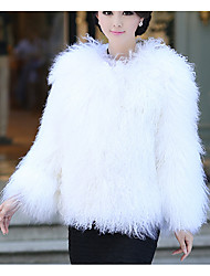 Women's Casual/Daily Simple Fur Coat,Solid Long Sleeve Winter White Wool