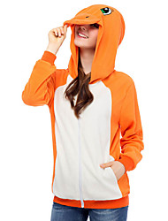 Cute Charmander Hoodie Jacket Polar Fleece Kigurumi  Casual Top Cosplay Costume Adult Unisex