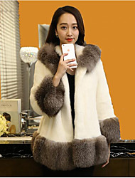 Women's Casual/Daily Simple Coat,Color Block Long Sleeve Winter White Faux Fur Thick