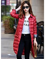 Manteau Doudoune Femme,Long simple Décontracté / Quotidien Couleur Pleine-Polyester Duvet de Canard Blanc Manches Longues Rose / Rouge