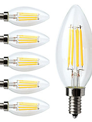 4W E14 Bombillas de Filamento LED C35 4 COB 400 lm Blanco Cálido Regulable / Decorativa AC 100-240 V 6 piezas