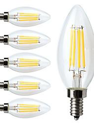 4W E14 LED žárovky s vláknem C35 4 COB 400 lm Teplá bílá Ozdobné / Stmívací AC 220-240 V 6 ks