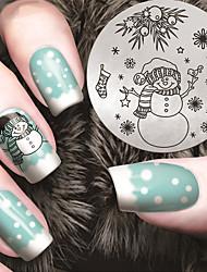 modelos Modelo do Natal carimbo de manicure neve do inverno do boneco de neve