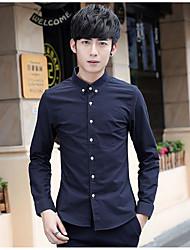 Hombre Simple Casual/Diario Otoño Camisa,Escote Chino Un Color Manga Larga Algodón Azul / Blanco Medio