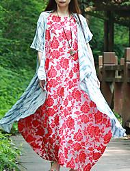 Feminino Camisa Casual Simples Primavera / Verão,Listrado Azul Linho Decote V Manga Curta Média