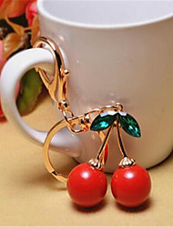 Cute Red Cherry Lady Car Keychain