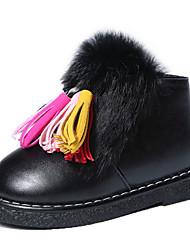 Girl's Boots Fall / Winter Comfort PU Dress / Casual Flat Heel Zipper Black / Red Walking