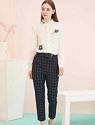 Pantalon Aux femmes Mince Vintage Rayonne / Polyester / Spandex Micro-élastique