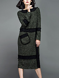 Feminino Túnicas Vestido,Casual Simples Sólido Decote Redondo Médio Manga Longa Verde Lã / Acrílico Outono Cintura Média Sem Elasticidade