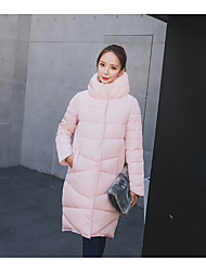 Women's Long Padded Coat,Simple Going out Solid-Polyester Polyester Long Sleeve Turtleneck Pink / Black / Green
