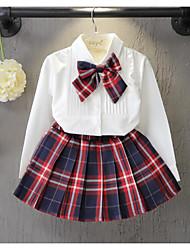 Camisa Chica de-Formal-Cuadrícula-Algodón-Primavera / Otoño-Blanco