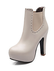 Women's Pull On Round Closed Toe High Heels Low Top Boots