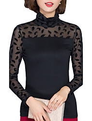 Fall Women Clothing Tops Solid Color Plus Size Turtleneck Long Sleeve Chiffon shirt Ladies Casual temperament Tops