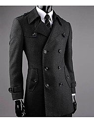 Men's Casual/Daily Simple Coat,Solid Shirt Collar Long Sleeve Winter Black Wool Medium