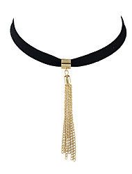 New Black Peach Skin Chain Tassel Pendant Necklace