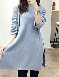 Damen Lang Pullover-Ausgehen Lässig/Alltäglich Einfach Solide Blau Weiß Schwarz Grün Rundhalsausschnitt Langarm Kaschmir Herbst Winter