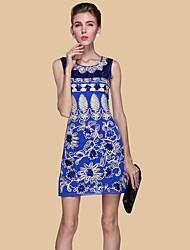 Women's Formal / Work / Party Sexy / Street chic Sheath Dress,Embroidered Round Neck Above Knee Sleeveless Blue / Red / Beige