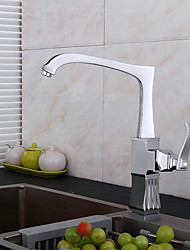 High Arc Deck Mounted Waterfall with Ceramic Valve Single Handle One Hole for Chrome , Kitchen faucet