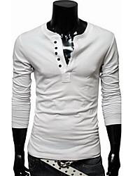 Masculino Camiseta Casual / Trabalho / Esportivo Simples / Activo Todas as Estações,SólidoAzul / Vermelho / Branco / Preto / Verde /