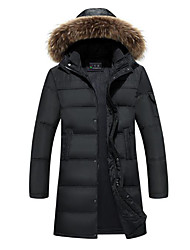 Men's Long Down Coat,Simple Casual/Daily Solid-Polyester White Duck Down Long Sleeve Hooded Black