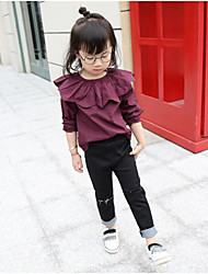 Girl's Going out Solid BlouseCotton Spring / Fall Purple