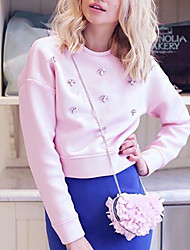 Women's Casual/Daily Cute Fall / Winter T-shirtSolid Round Neck Long Sleeve Pink Polyester Medium