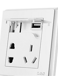 Lesso Plastic Switch Socket USB With Two Three Inserts Still White Series