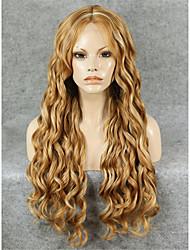 imstyle 26''beautiful schwere Dichte Langwellen Mischung blonde synthetische Spitzefrontseitenperücke billig