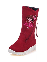 Women's Boots Fall / Winter Comfort Fleece Dress / Casual Low Heel Applique / Slip-on / Zipper Black / Brown / Red Walking / Hiking