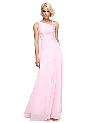 LAN TING BRIDE Floor-length Chiffon Bridesmaid Dress - Ball Gown Notched with Beading / Flower(s)