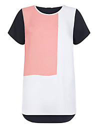 Damen Einfarbig Einfach / Niedlich Lässig/Alltäglich / Übergröße T-shirt,Rundhalsausschnitt Frühling / Herbst Kurzarm Rosa / Schwarz