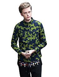 Men's Going out / Casual/Daily Active / Punk & Gothic Fall / Winter Long Sleeve Green Cotton Medium