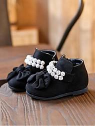 Girl's Flats Comfort Cowhide Casual Black / Burgundy