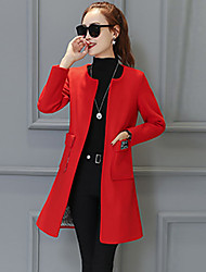 Women's Casual/Daily Simple Trench Coat,Solid Long Sleeve Red Wool