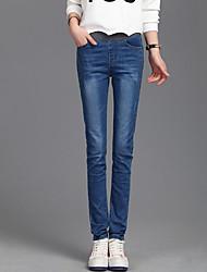 Women's Solid Blue Jeans PantsVintage All Seasons Plus Size