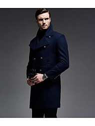 Men's Casual/Daily Simple Coat,Solid Shirt Collar Long Sleeve Winter Blue / Black Wool