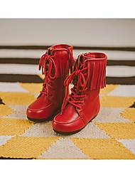Mädchen-Stiefel-Lässig-LederKomfort-Schwarz Beige Rot