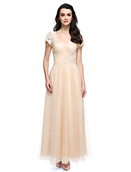 2017 ts couture® de noite formal de uma linha de Queen Anne tule até os tornozelos com apliques / beading / Cruz de Criss