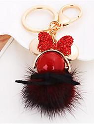 Pearl Diamond Bowknot Girl Hair Ball Key Chain Car Bag Ornaments Pendant