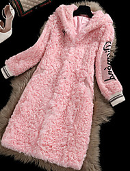 Lusi Fashion   Women's Casual/Daily Simple Fur CoatSolid Long Sleeve Winter Multi-color Lamb Fur Thick