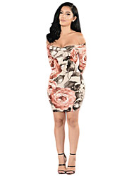 Women's Casual/Daily / Party Sexy / Vintage Backless Slim Bodycon DressFloral Boat Neck Mini  Sleeve Mid Rise