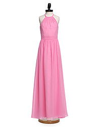 LAN TING BRIDE Floor-length Chiffon Junior Bridesmaid Dress A-line Halter Natural with Sash / Ribbon
