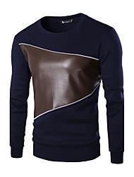 Herren Patchwork Retro Lässig/Alltäglich / Arbeit T-shirt,Rundhalsausschnitt Herbst / Winter Langarm Blau / Schwarz / Grau Baumwolle