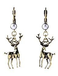 Luxury Gem Geometric Earrrings Exaggerated Christmas Deer Pearl Drop Earrings for Women Fashion Jewelry Best Gift