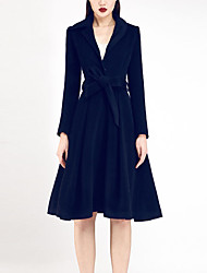 Chocolatone Women's Casual/Daily Simple CoatSolid V Neck Long Sleeve Fall / Winter Black Wool Medium